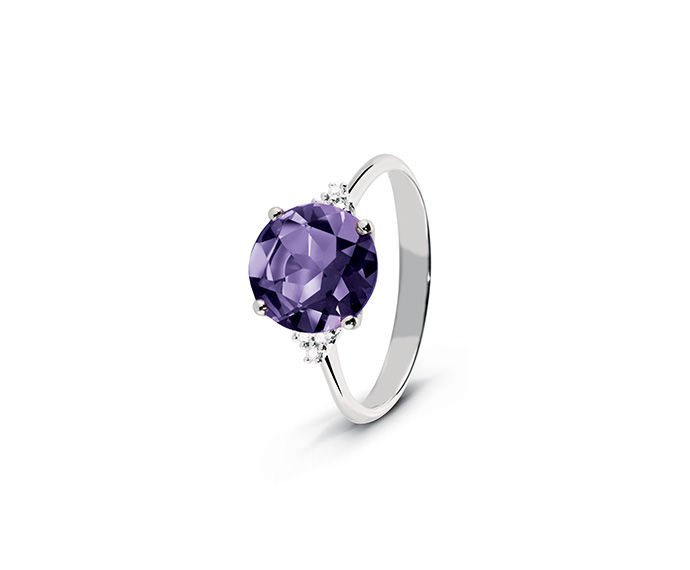ALFIERI & ST. JOHN - Ring in white gold with diamonds and amethyst