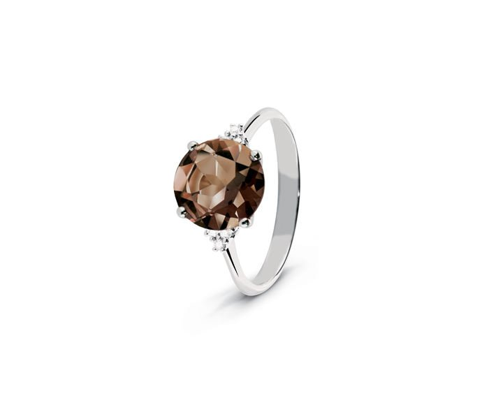 ALFIERI & ST. JOHN - Ring in white gold with diamonds and quartz fumé
