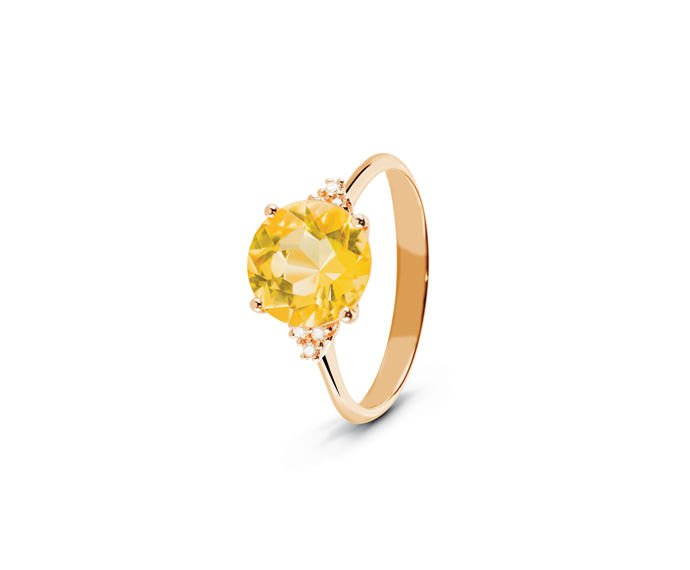 ALFIERI & ST. JOHN - Ring in pink gold with diamonds and citrine quartz