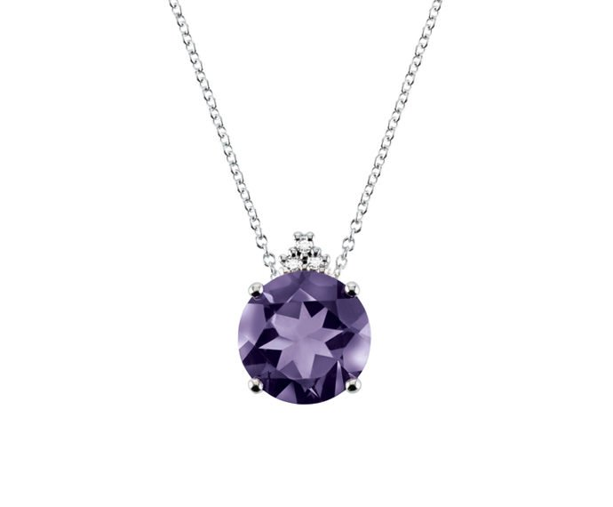 Alfieri & St. John - Necklace in white gold with diamonds and amethyst