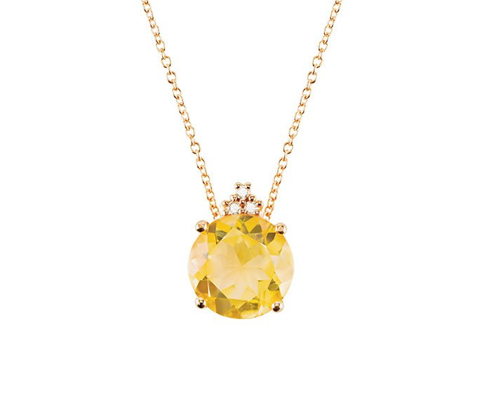 ALFIERI & ST. JOHN - Necklace in pink gold with diamonds and citrine quartz