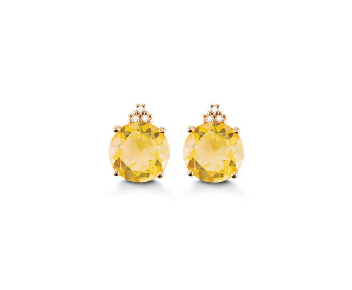 ALFIERI & ST. JOHN - Earrings in pink gold with diamonds and citrine quartz