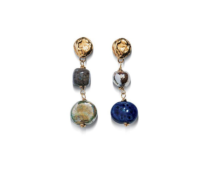 ALFIERI & ST. JOHN - Earrings Magika Aria in yellow silver and raku ceramic