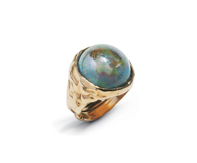 Alfieri & St. John - Ring Magiko Ghiaccio in yellow silver and raku ceramic