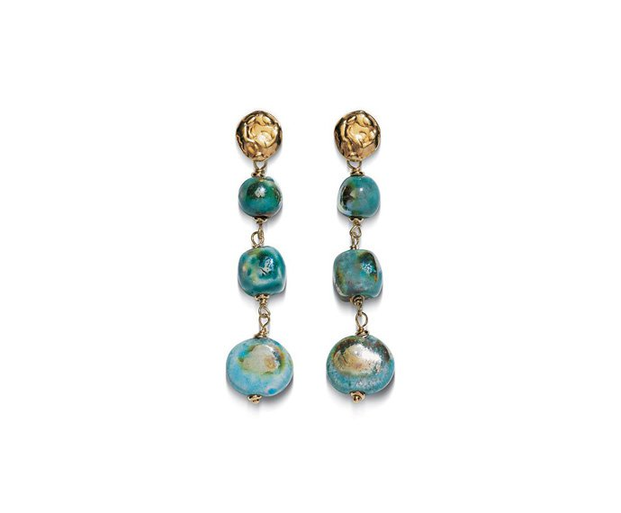 Alfieri & St. John - Earrings Magiko Ghiaccio in yellow silver and raku ceramic