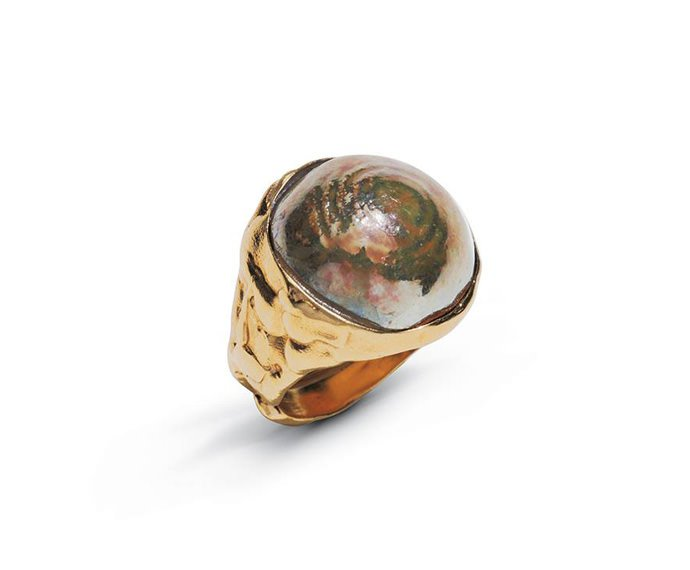 Alfieri & St. John - Ring Magiko Fuoco in yellow silver and raku ceramic