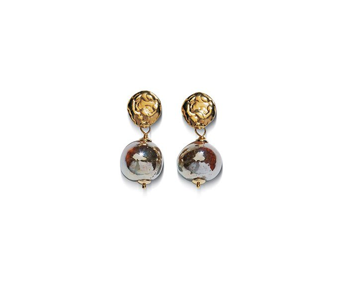 Alfieri & St. John - Earrings Magiko Fuoco in yellow silver and raku ceramic