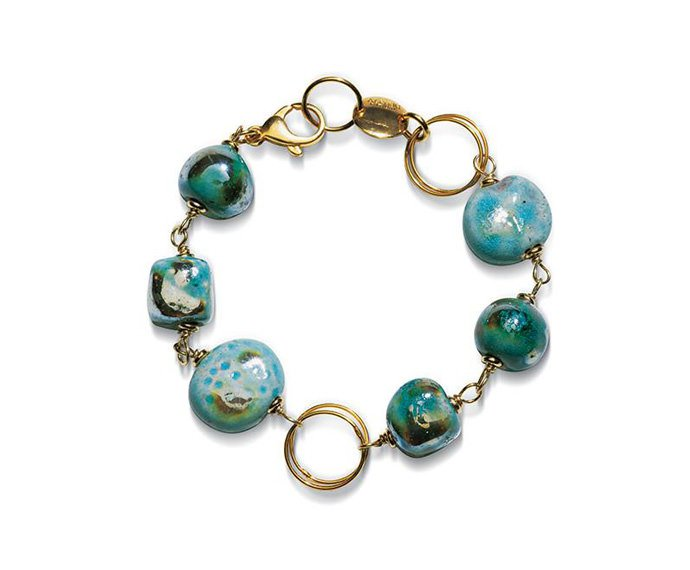Alfieri & St. John - Bracelet Magiko Ghiaccio in yellow silver and raku ceramic