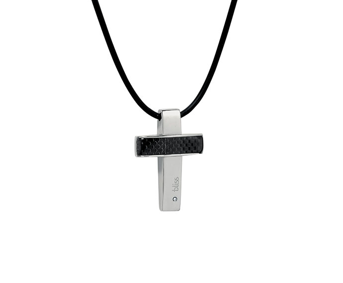 BLISS - Necklace with steel, carbon and natural diamond pendant