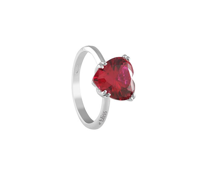 Bliss - Silver, cz, ruby and natural diamond ring