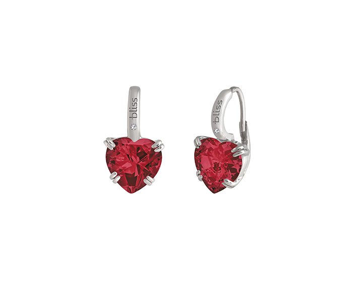 Bliss - Silver, cz, ruby and natural diamond earrings