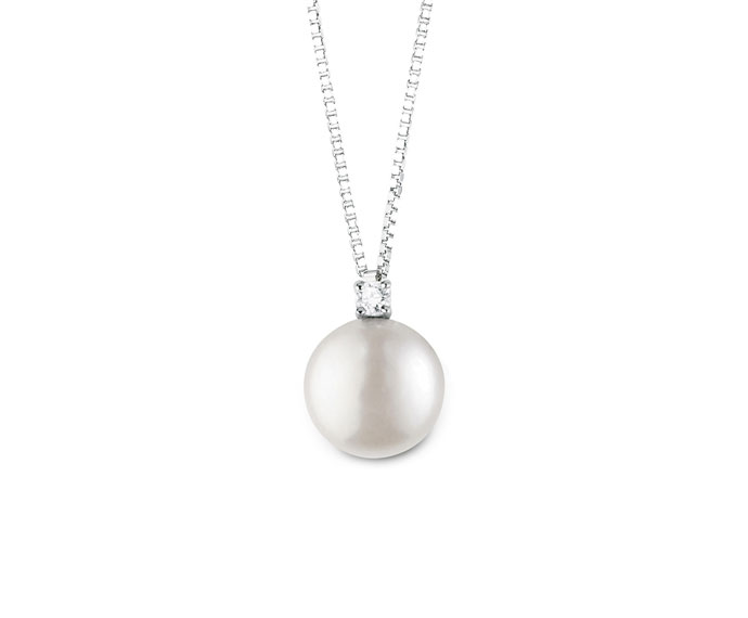 Bliss - Silver necklace with pearl and diamond