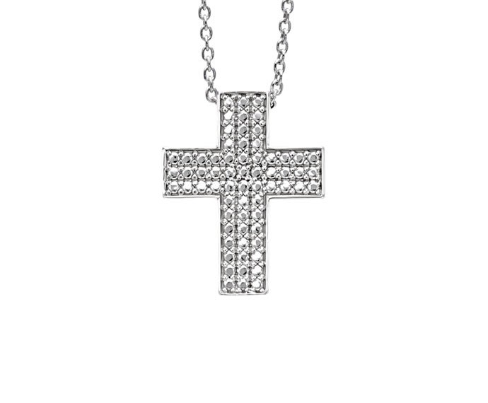 Bliss - Rhodium plated silver cross shaped necklace