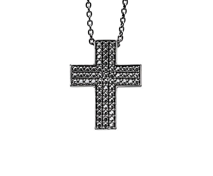 BLISS - Black hodium plated silver cross shaped necklace