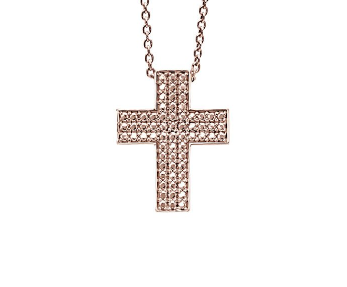 Bliss - Pink rhodium plated silver cross shaped necklace