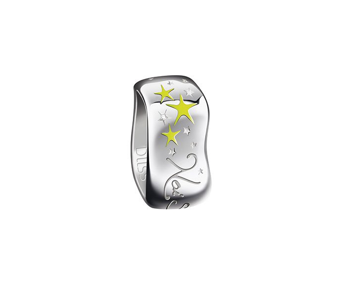 Bliss - Anello in argento con smalto giallo e diamante