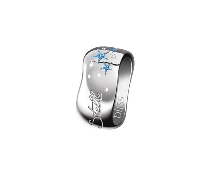 Bliss - Silver ring with light blue enamel and diamond