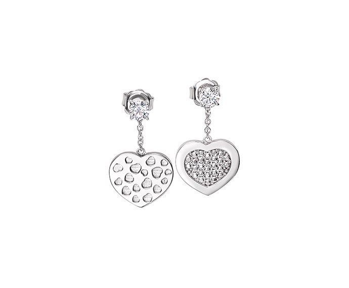 BLISS - Silver heart shaped earrings