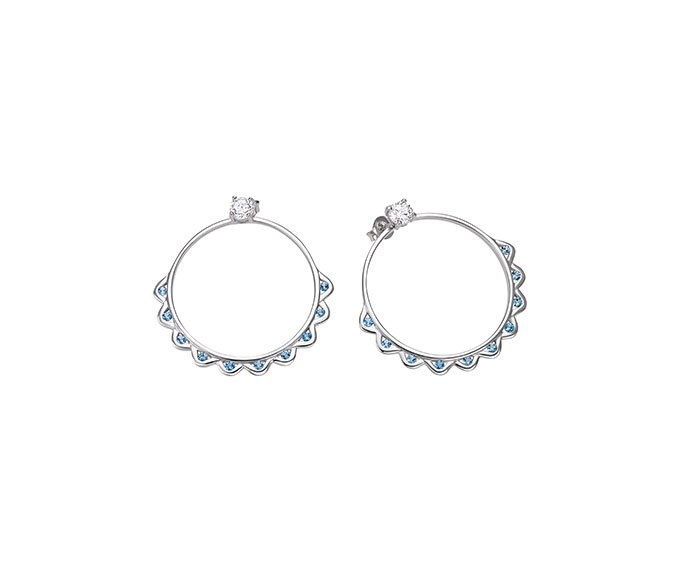 Bliss - Silver with light blue topaz and cz earrings