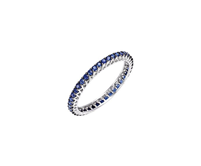 BLISS - White gold and blue sapphires solitaire ring