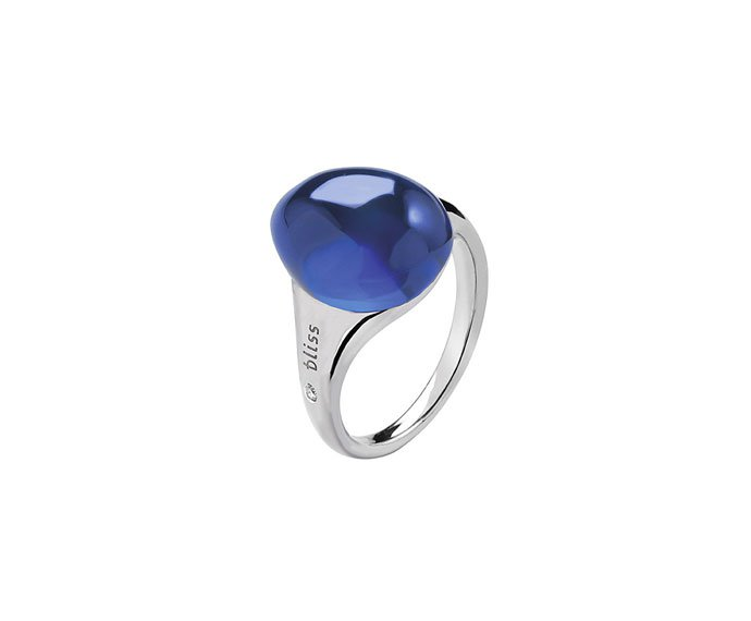 BLISS - White gold 9 KT ring with blue cabochon gem