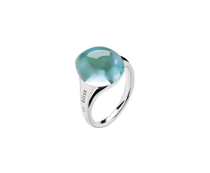 BLISS - White gold 9 KT ring with green cabochon gem