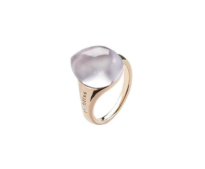 BLISS - Pink gold 9 KT ring with pink cabochon gem