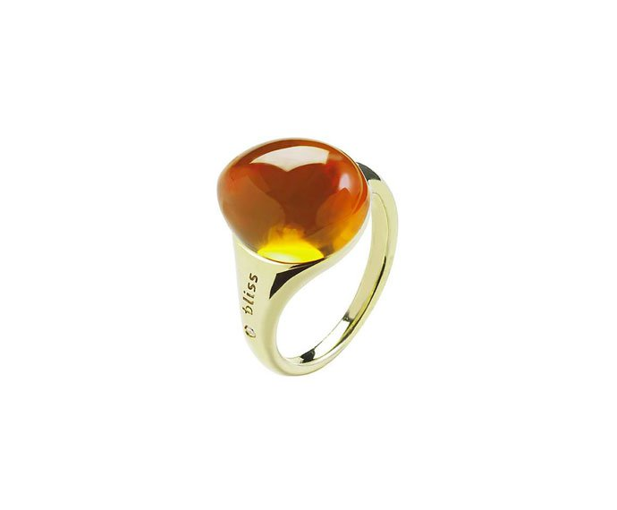 Bliss - Yellow gold 9 KT ring with yellow cabochon gem