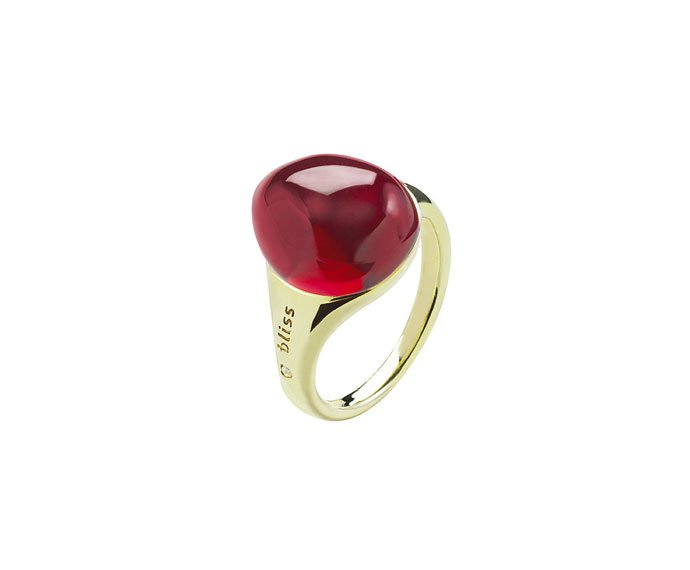 BLISS - Yellow gold 9 KT ring with red cabochon gem