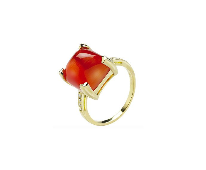 Bliss - Yellow gold 9 KT ring with red quartz and diamonds