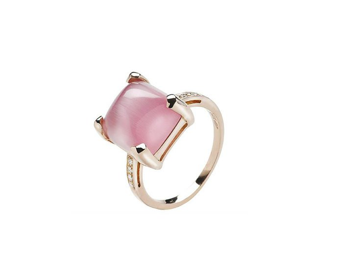 Bliss - Pink gold 9 KT ring with pink quartz and diamonds