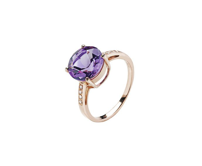 Bliss - Pink gold 9 KT with amethyst and diamonds ring
