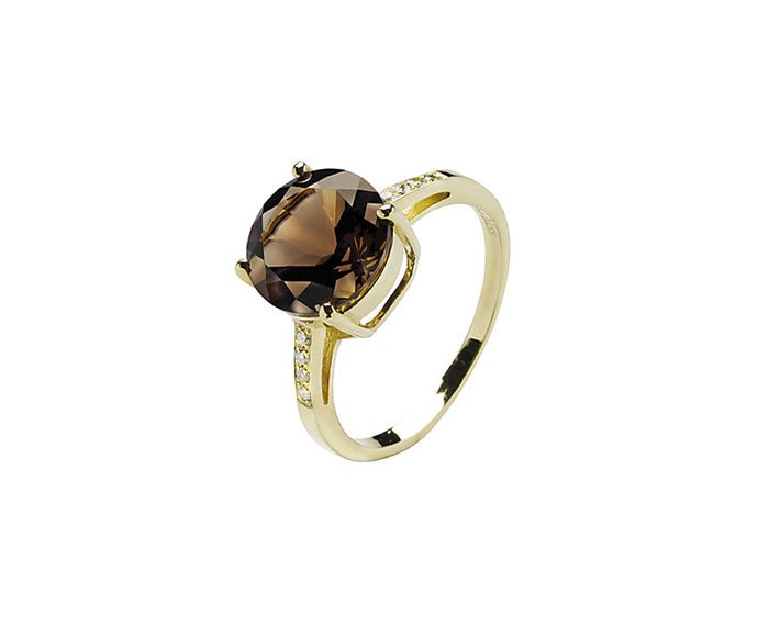 BLISS - Yellow gold 9 KT with fumé quartz and diamonds ring