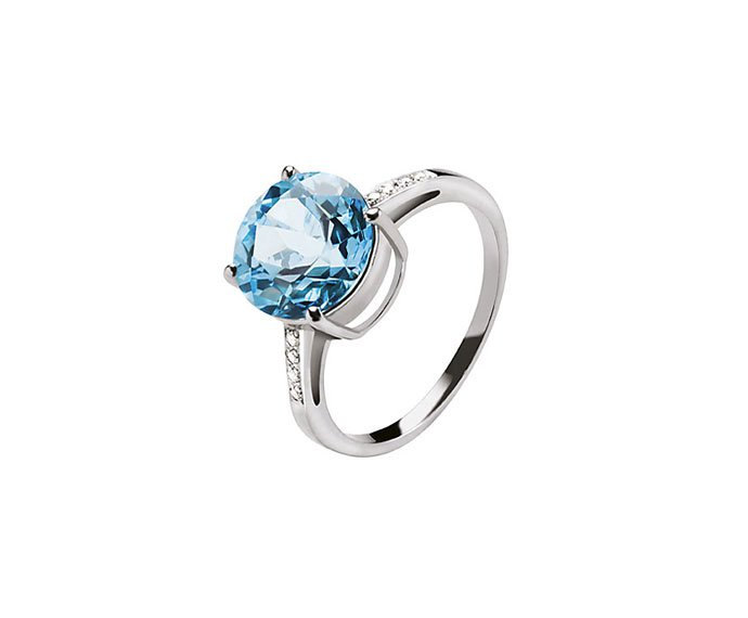 BLISS - White gold 9 KT with blue topaz and diamonds ring