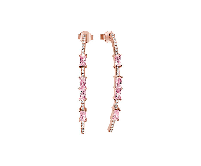 BLISS - Pink silver and cubic zirconia earrings