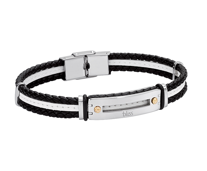 Bliss - Steel, gold and black and white leather bracelet