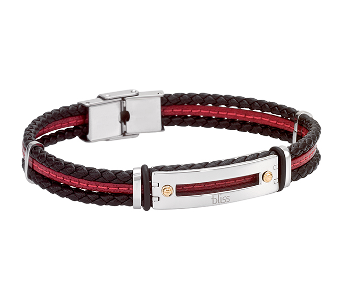 BLISS - Steel, gold and black and red leather bracelet