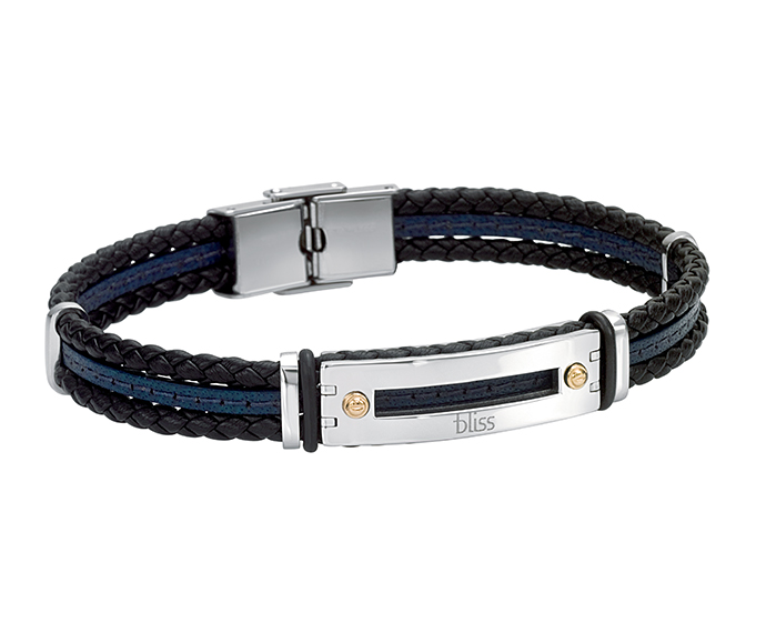 Bliss - Steel, gold and black and blue leather bracelet
