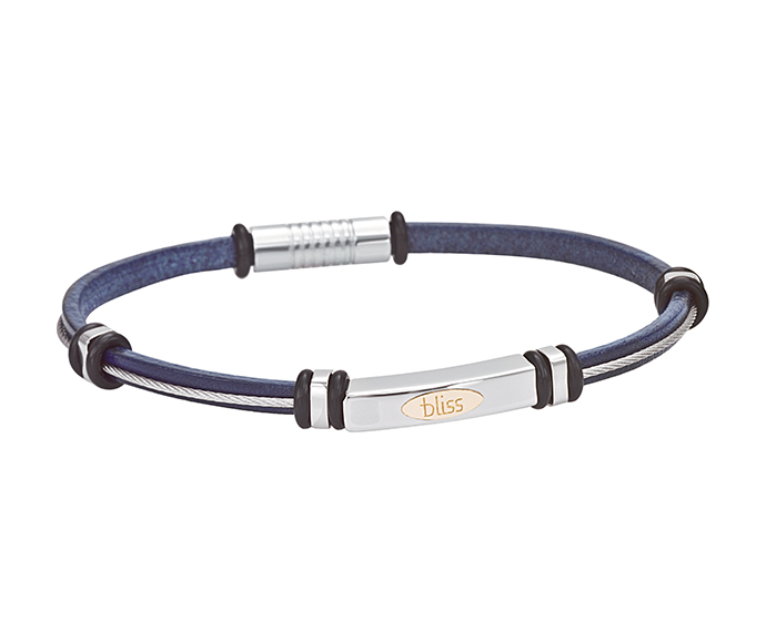 BLISS - Steel, gold and blue leather bracelet