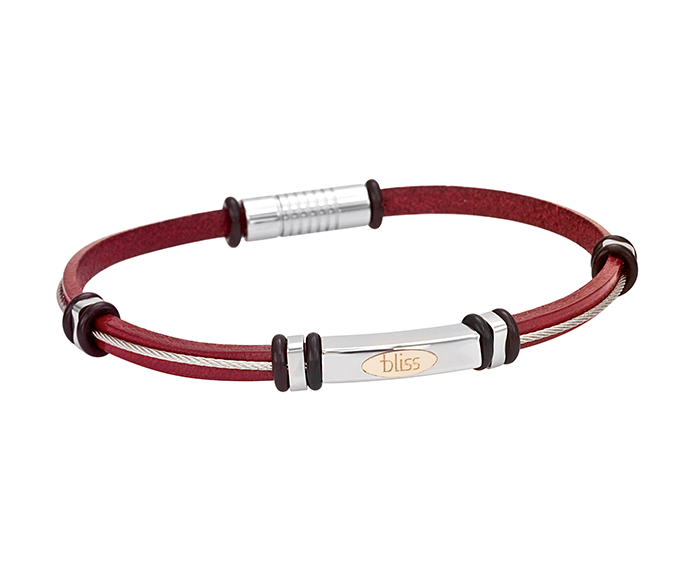 Bliss - Steel, gold and red leather bracelet