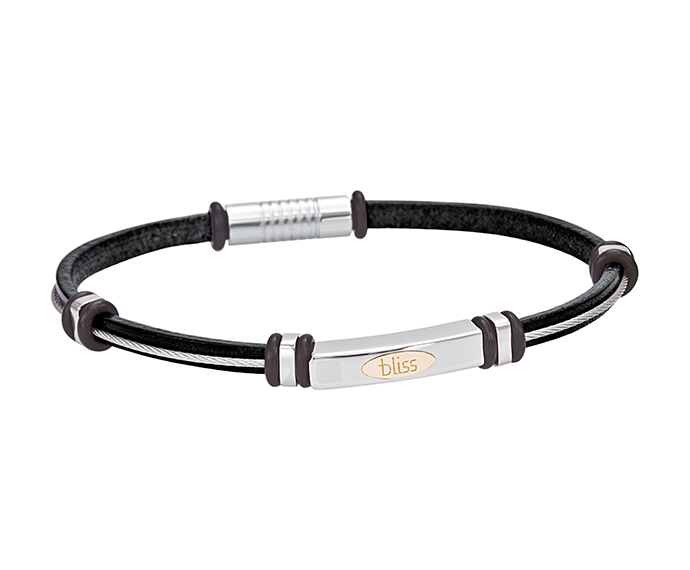 BLISS - Steel, gold and black leather bracelet