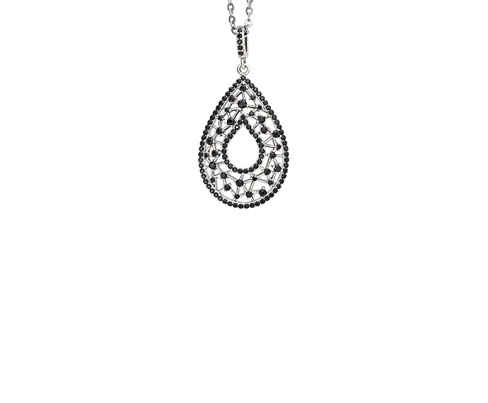 BLISS - Silver and black cubic zirconia necklace