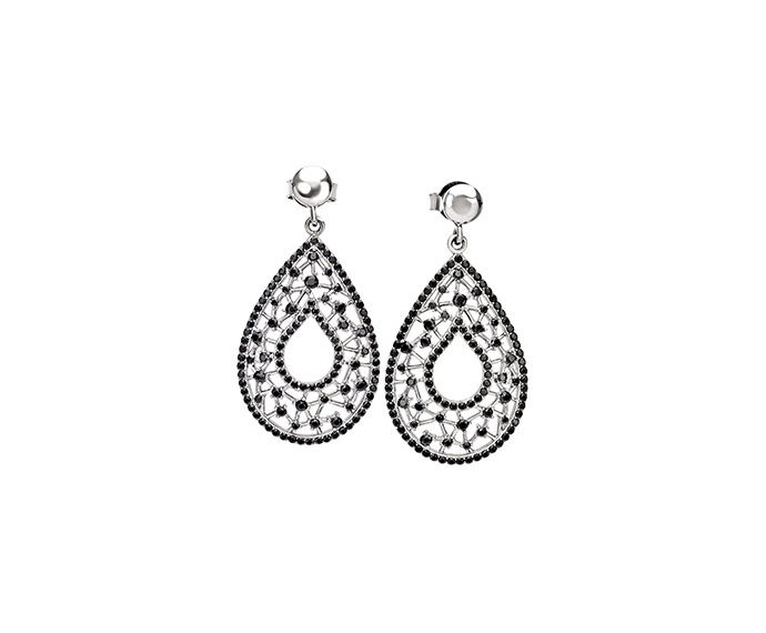 BLISS - Silver and black cubic zirconia earrings