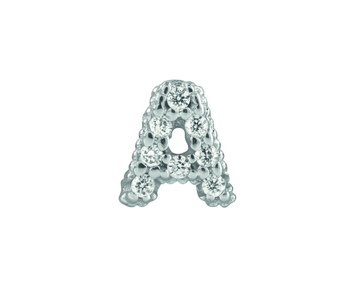 BLISS - Silver and White Cubic Zirconia Charm, Letter A