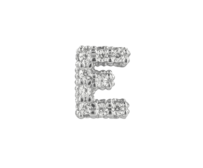 BLISS - Silver and White Cubic Zirconia Charm, Letter E