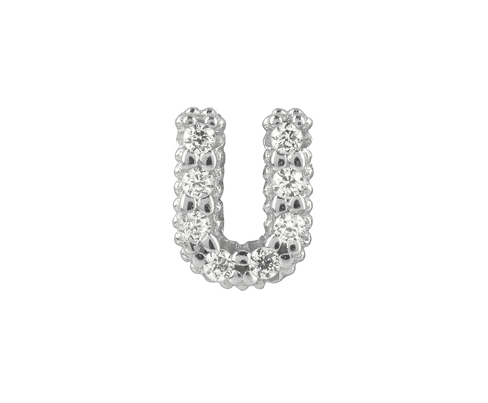 BLISS - Silver and White Cubic Zirconia Charm, Letter U
