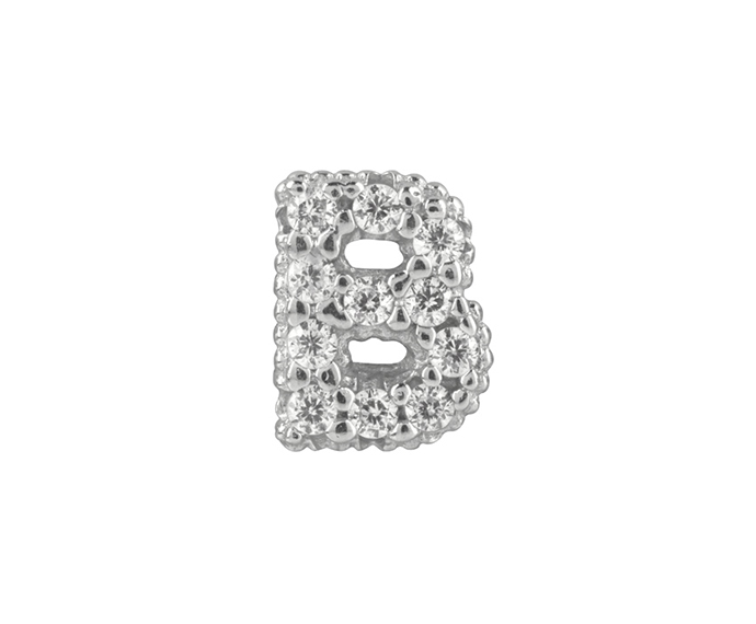 Bliss - Silver and White Cubic Zirconia Charm, Letter B