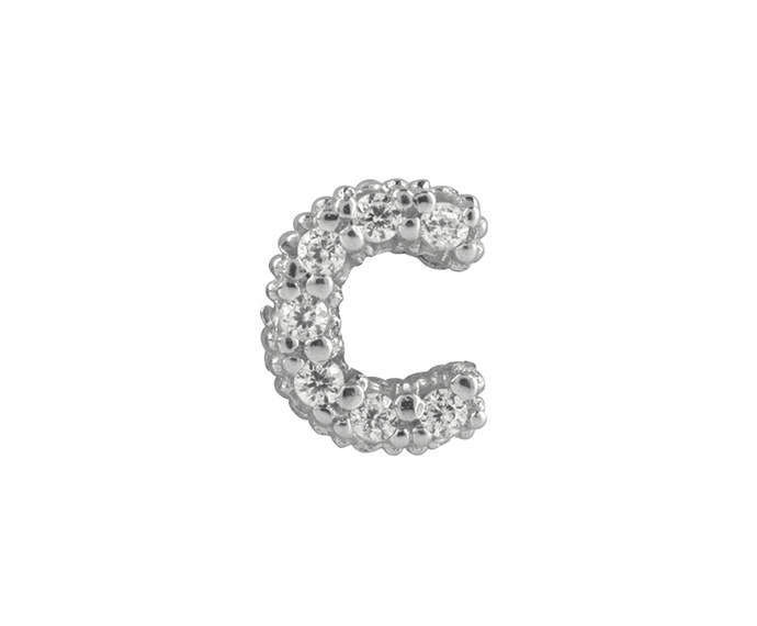 BLISS - Silver and White Cubic Zirconia Charm, Letter C