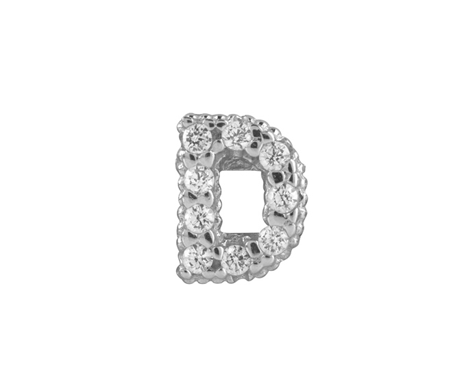 BLISS - Silver and White Cubic Zirconia Charm, Letter D