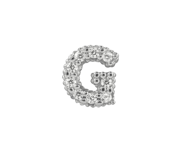 BLISS - Silver and White Cubic Zirconia Charm, Letter G